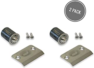 Qualihome Drive-in Closet Door Ball Catch, with Strike Plate (2 Pack Satin Nickel)