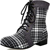 Kaloosh Women's Plaid Flock Fashion Canvas Low-Heel Martin Ankle Boots