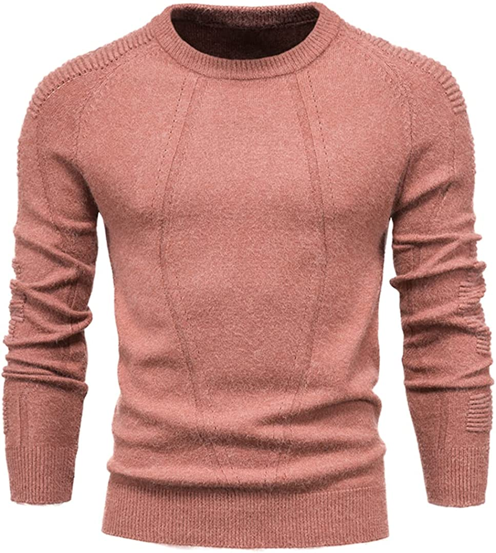 Kteret Men's O-Neck Solid Color Geometry Sweater Casual Pull Slim Pullover