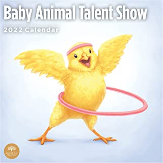 2022 Baby Animal Talent Show Wall Calendar by Bright Day, 12 x 12 Inch, Cute Cartoon Drawings Kids Children's Art