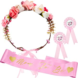 SATINIOR Baby Shower Sash, Mom to be Sash and Pin with Floral Crown for Mom and Dad Kit for Baby Shower Party Favors Decor...