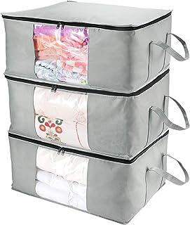 CCidea Lot de 3 grands sacs de rangement pour vêtements avec poignée renforcée, idéal pour couettes, couvertures, literie,...