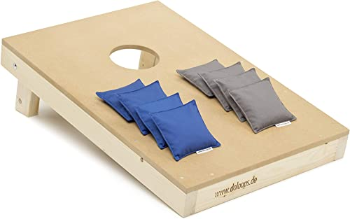 doloops Original Cornhole Spielset - EIN Cornhole Board und 8 Cornhole Bags (je 4 Größe und 4 Blaue Cornhole Bags), original Deutscher Cornhole Verband Turnierausstattung