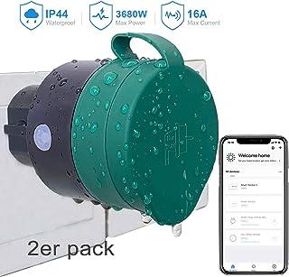 UCOMEN Enchufe Inteligente Exterior, Enchufe WiFi Compatible con Alexa y Google Home, APP Control Remoto, Función de Temporizador, Uso Interior y Exterior,IP44 a prueba de agua, (2pcs)