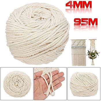 Cordón de macramé de 4 mm x 110 m de algodón virgen natural hecho a mano, para decoraciones, manualidades, tejer 4 mm/110 m.: Amazon.es: Hogar