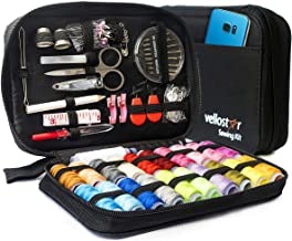 Sewing KIT Premium Repair Set - Over 100 Supplies and 24-Color Threads & Needles, Portable Mini Mending Button Travel Sew Kits, Easy to Use Sowing Accessories for Adults & Beginners, Giftable, Black