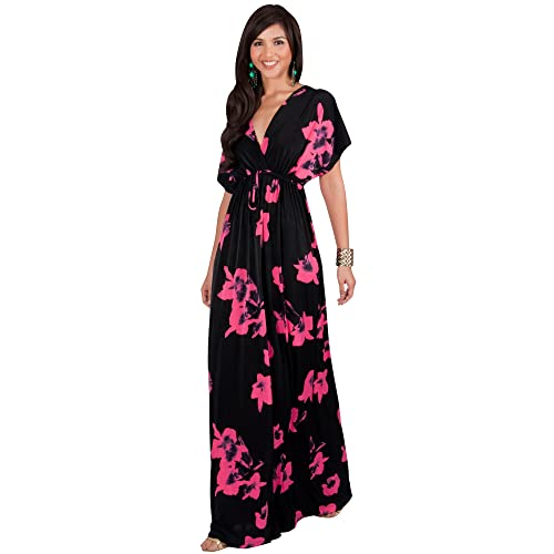 558f5ae7590474 KOH KOH Womens Long Kimono Short Sleeve Floral Summer V-Neck Flowy Maxi  Dress