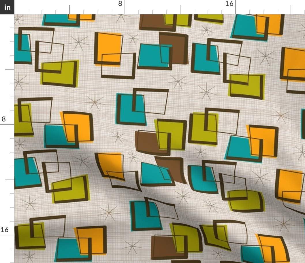 Round Tablecloth Retro Atomic Midcentury Modern Abstract Geometric Cotton Sateen