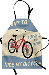 Lunarable 1960s Apron, I Want to Ride My Bicycle for Style and Quality Joy Vintage Poster Art, Unisex Kitchen Bib with Adjustable Neck for Cooking Gardening, Adult Size, Purple Grey