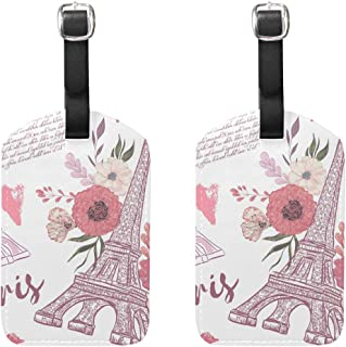 MASSIKOA Paris Eiffel Tower Floral Cruise Luggage Tags Suitcase Labels Bag,2 Pack
