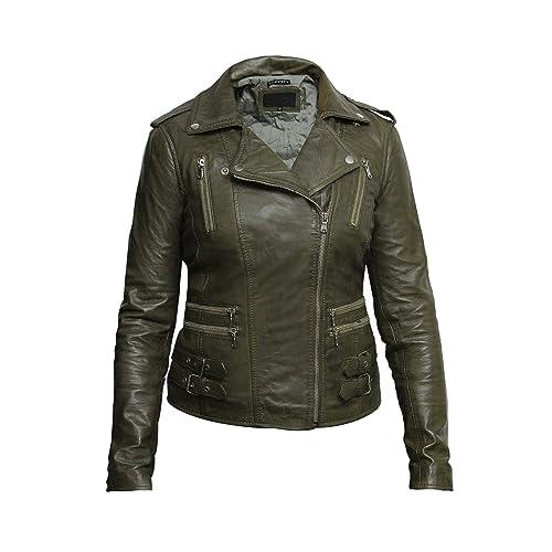0289d21fd Green Leather Jacket: Amazon.co.uk