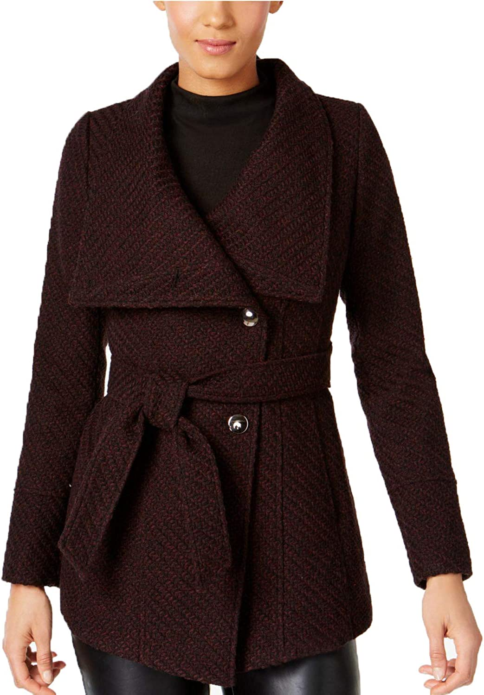 INC International Concepts Womens Asymmetrical Belted Walker Coat Merlot M