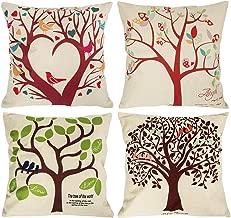 NYKKOLA Soild Linen Tree Theme Throw Pillow Covers Set of 4, Decorative Pillowcase Cushion Cover for Sofa Bedroom Car 18 x 18 Inch 45 x 45 cm (Style 05)