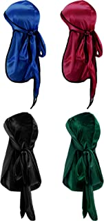 Tatuo 2 Pieces Velvet Durag and 2 Pieces Silky Soft Durag Cap Headwraps with Long Tail and Wide Straps for 360 Waves