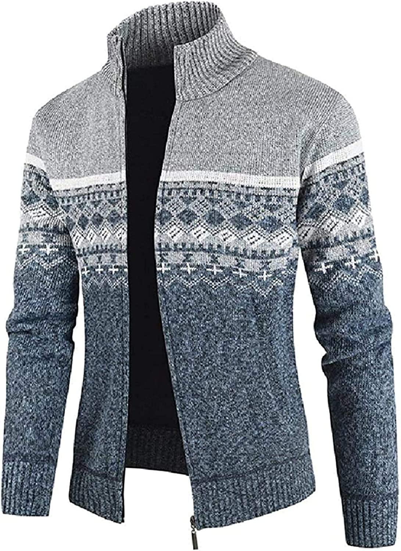 Men's Zip Up Color Block Open Front Slim Stand Collar Knit Cardigan