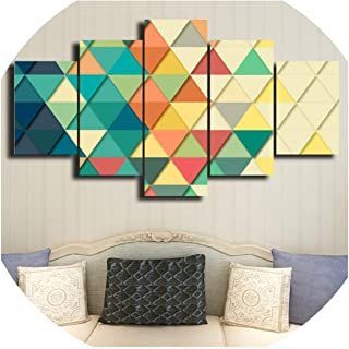 HD Printing Modern Home Furnishing Canvas Living Room 5 Triangle Geometric Painting Mural Art Module Poster Frame Pictur,40X60 40X80 40X100,No Frame
