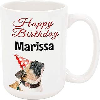 Happy Birthday Marissa - 15 Ounce Coffee or Tea Mug, White Ceramic, Unique Birthday Present Gift Idea
