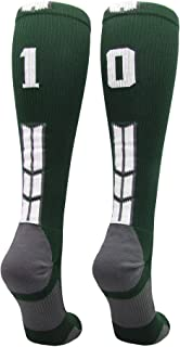 Player Id Jersey Number Socks Over The Calf Length Dark Green and White