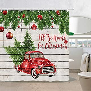 Merry Christmas Shower Curtains, Colorful Christmas Balls with Pine Fir Tree, Polyester Fabric Red Retro Truck Car with Snowflake Xmas Tree on Rustic Wood Shower Curtain, Bathroom Accessory Sets, 70in