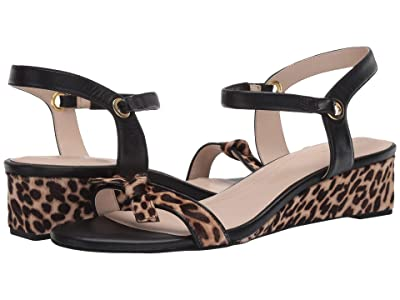 Cole Haan Halsey Wedge Sandal (40 mm) (Mini Cheetah Hair On/Nude/Black Leather Brushed Gold) Women