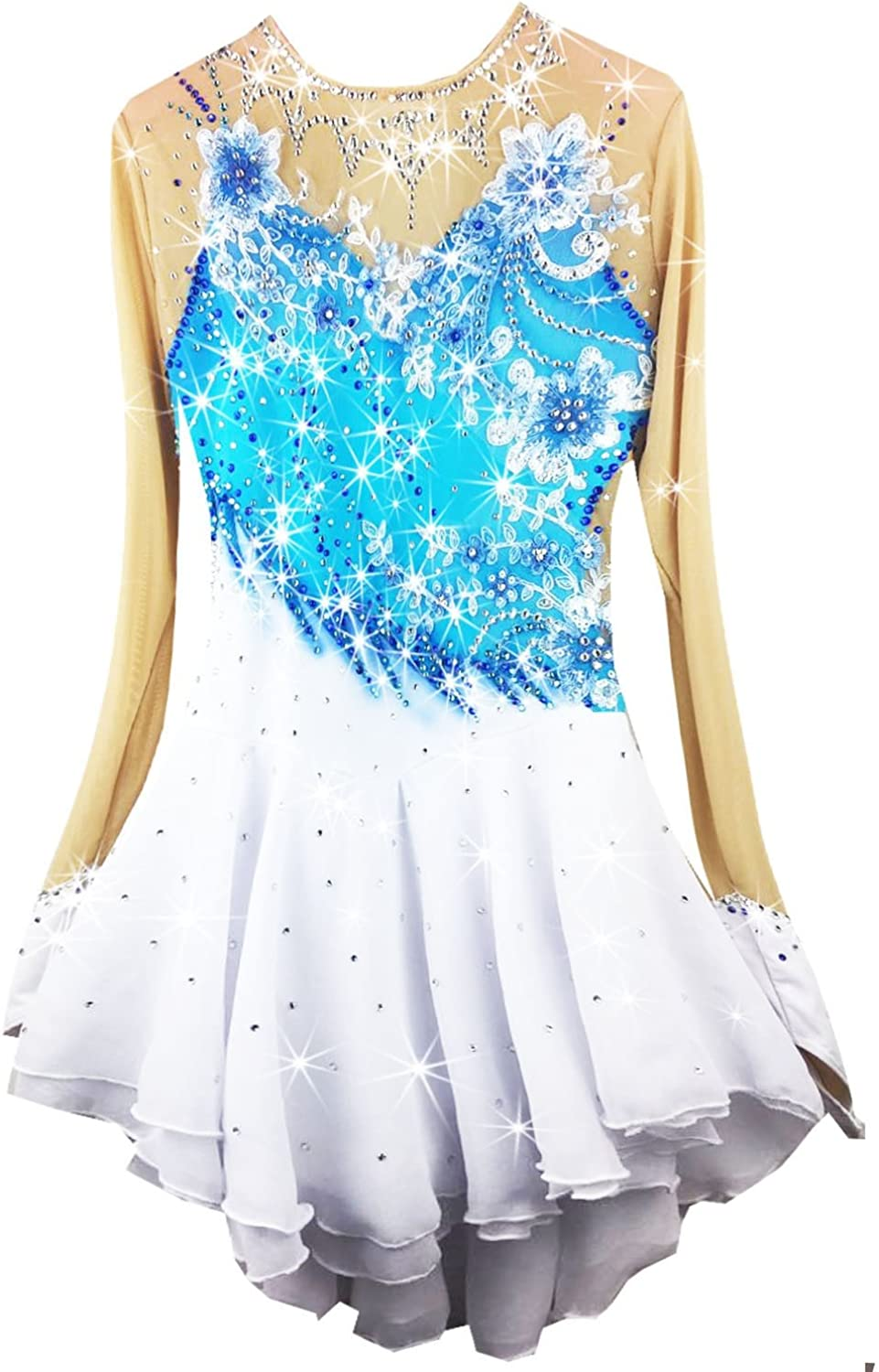Heart&M Hand Painting Ice Skating Dress for Girls Womens Figure Skating Competition Costume Long Sleeved Skating Dress bluee White