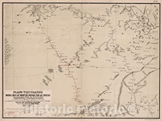 Historic Pictoric Map : Plano Topografico de la Nueva L?NEA de Frontera ocupada por las fuerzas de la Division Norte de Buenos Aires, 1877, Vintage Wall Decor : 59in x 44in