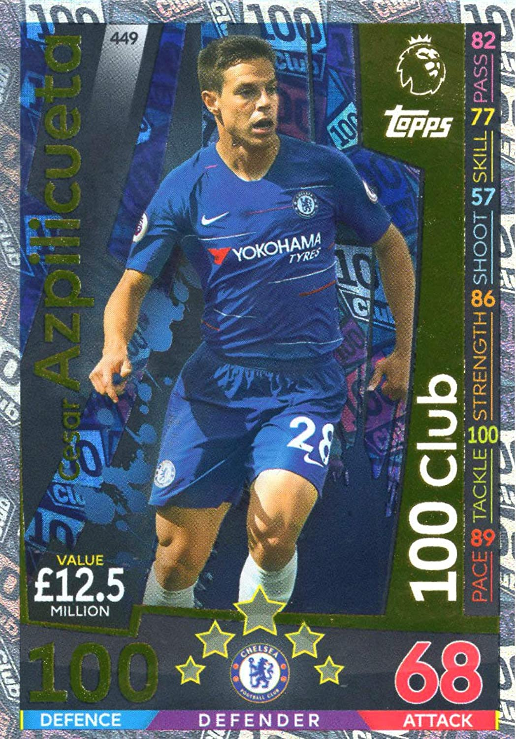 MATCH ATTAX 2018 19 Cesar AZPILICUETA 100 Club Card - Chelsea  449