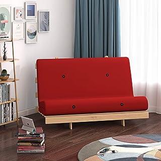 Panana - Sofá Palets con Estructura Madera Cojín Asiento y Respaldo Acolchado Completo Relax Inclinable Habitación Jardín Interior Terraza Balcón Arcón (Rojo)