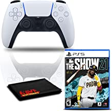 $145 » PlayStation 5 DualSense Wireless Controller (White) Bundle with MLB The Show PS5 Game and Cleaning Cloth
