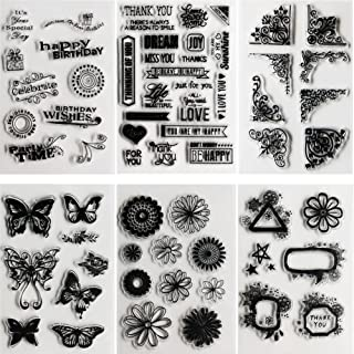 SOOKOO 6 Sheets Assorted Clear Stamps for Card Making Decoration and Scrapbooking, Flower Butterfly Friendly Phrases Clear Stamps