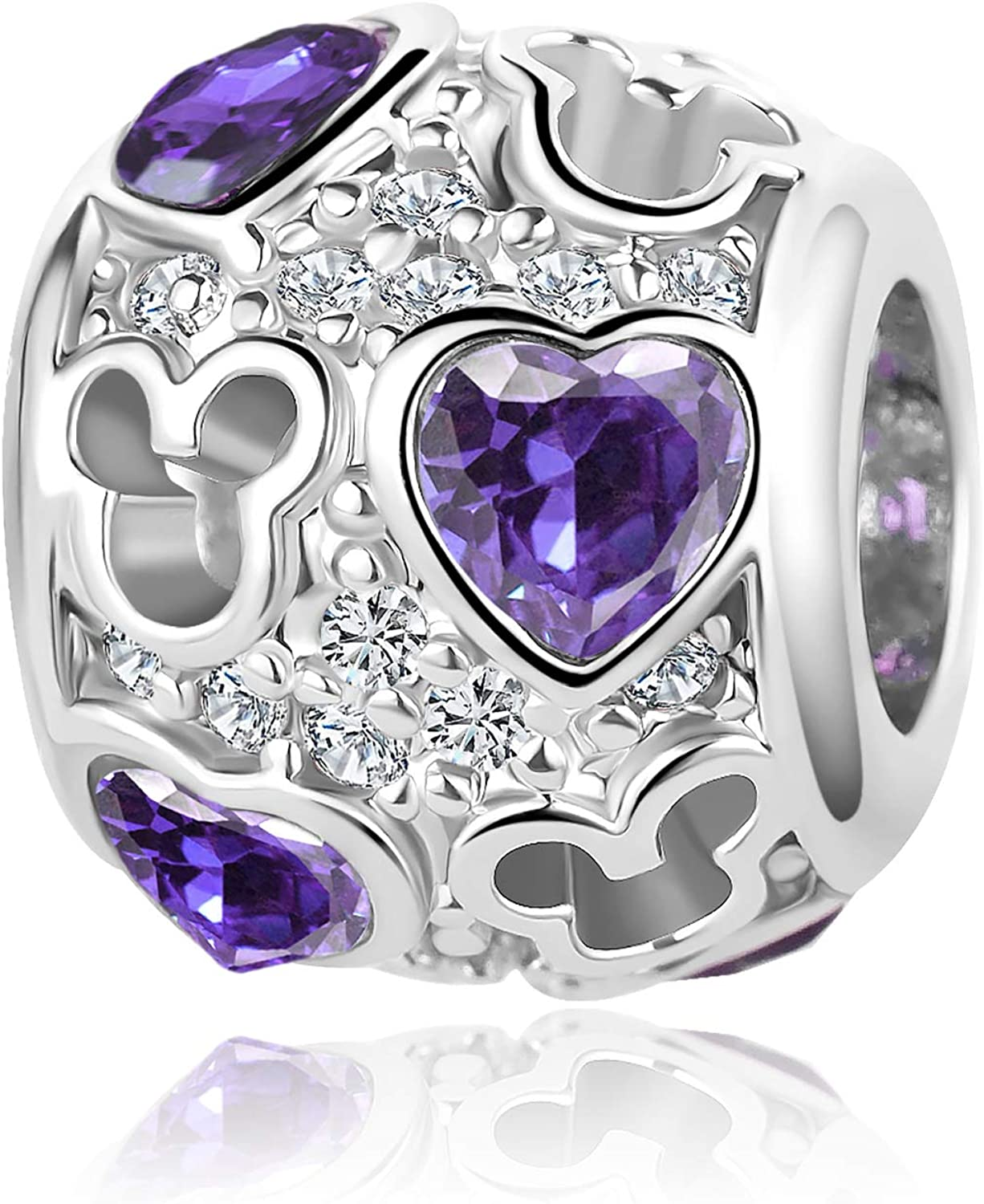QeenseKc Mouse Openwork Heart Love Animal Round Charm Sparkling CZ Beads for Pandora Bracelet