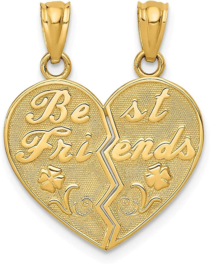 14k Yellow Gold Best Friends Bestfriend Friendship Heart Break Apart Pendant Charm Necklaces Necklace Fine Jewelry For Women Gifts For Her