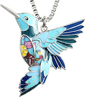 Womens Hummingbird Necklaces & Pendants Unique Colorful Bird Charm Jewelry Gifts