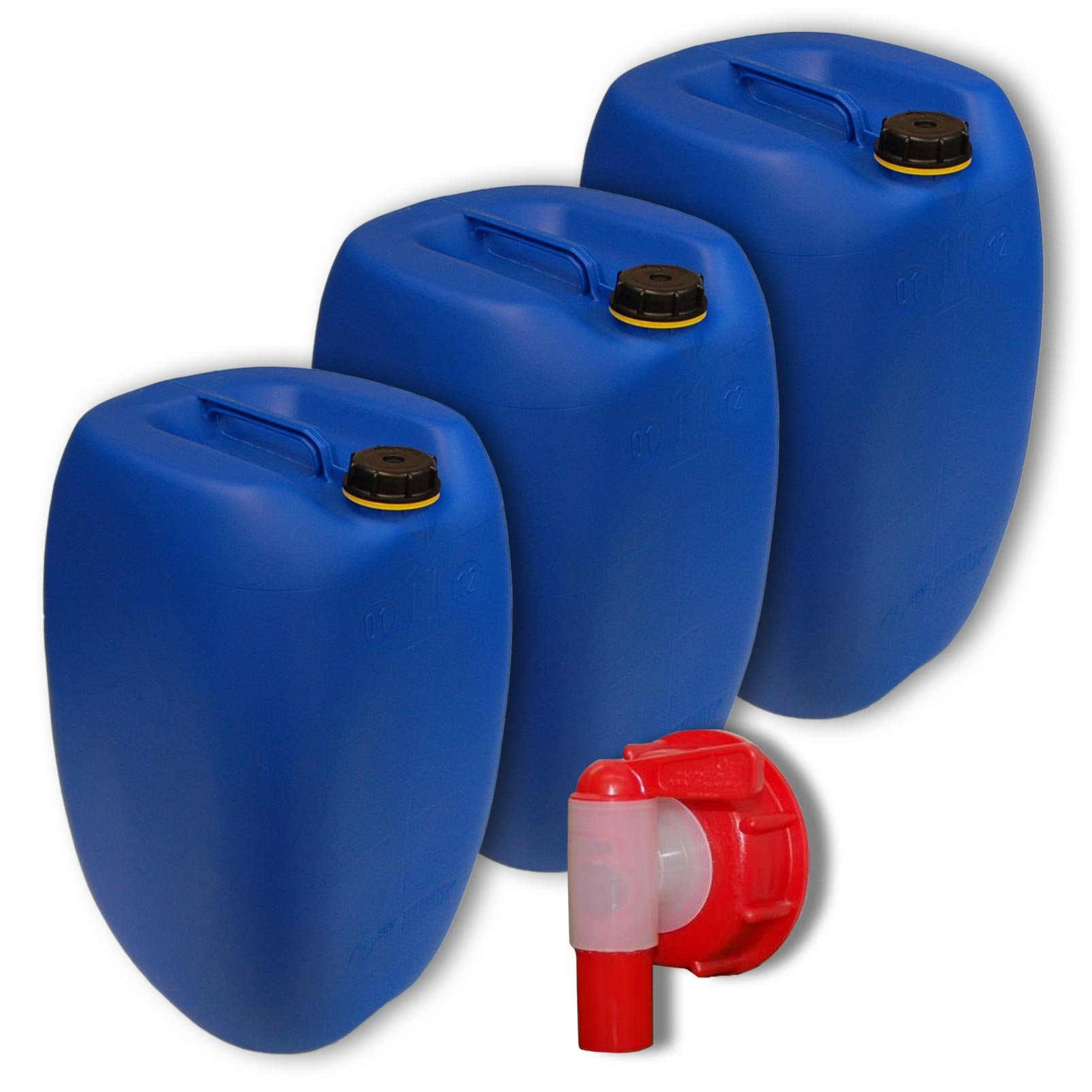 Lot of 3 plastic jerricans 60 L, water container, Blue, DIN 61 + 1 tap (22250x3+22010)