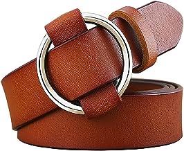 SSMDYLYM Ronde ring gesp riem vrouw lederen riemen voor vrouwen jeans breedte 2.8 cm (Color : Brown, Size : 110 cm)