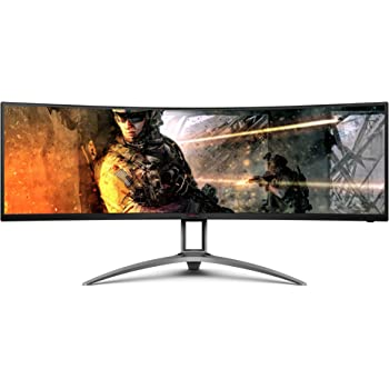 "AOC AGON Curved Gaming Monitor 49"" (AG493UCX), Dual QHD 5120x1440 @ 120Hz, VA Panel, 1ms 120Hz Adaptive-Sync, 121% sRGB, Height Adjustable, 4-Yr Zero Dead Pixels Manufacturer Guarantee"