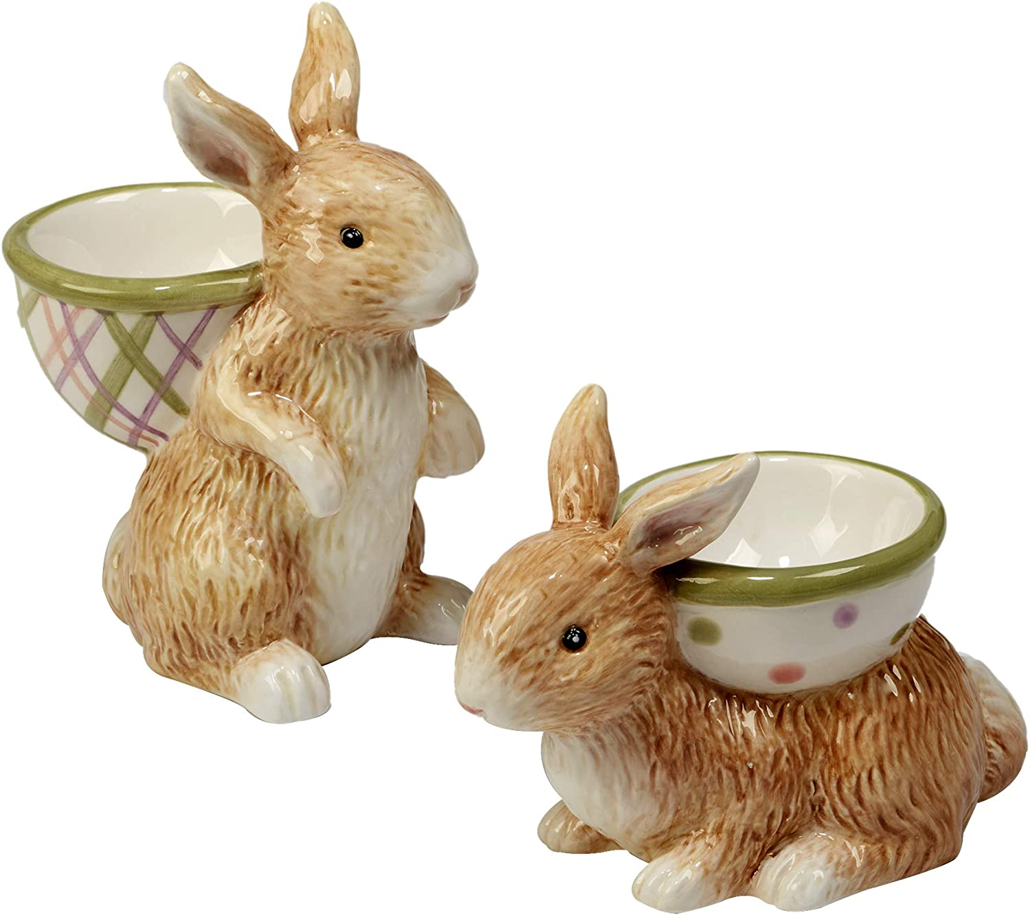 Certified International Bunny Patch 3-D Egg Cups, Set of 6, 2 Assorted Designs,One Size, Multicolord