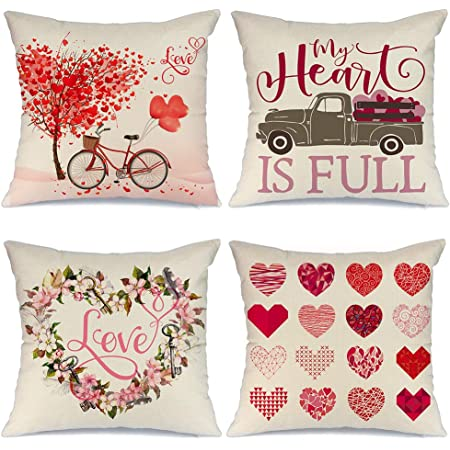 Aeney Valentines Day Pillow Covers 18x18 Set Of 4 Valentines Day Decor For Home Red Love Heart Truck Cupid Valentine Pillows Decorative Throw Pillows Farmhouse Valentines Day Decorations A318 18 Home