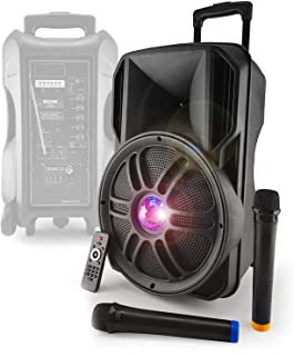 Enceinte autonome sur batterie 12'' 700W - Effet Friztal LED - USB/SD/BT/FM + 2 Micros VHF - MyDJ Diams12