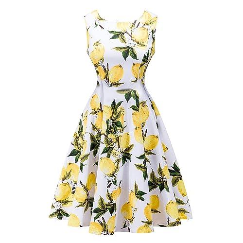 FUTURINO Women's Casual Vintage Classy Floral 1950s Audrey Hepburn Midi Dress