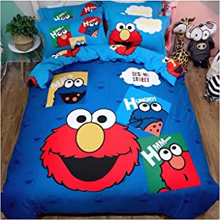 Peachy Baby Featuring Sesame Street Elmo Bedding Sheet Set Queen Single Twin King 【100% Cotton】【Free Express Shipping】 Cute Blue Cartoon Cookie Monster 3 or 4 Pieces Bed Sheets (Queen Size)
