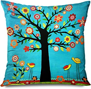 DANGCCI Florals Decorative Throw Pillows Cushion Cover for Bedroom Sofa Living Room Folk Art Tree Painting Colorful Tree C...