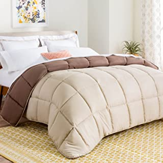 LINENSPA All-Season Reversible Down Alternative Quilted Comforter - Corner Duvet Tabs - Hypoallergenic - Plush Microfiber Fill - Box Stitched - Machine Washable - Sand / Mocha - Full