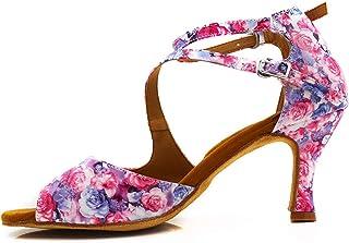 Dames Laitn Salsa Ballroom Tango Dansschoenen Professionele Gekleurde PU-leer 7cm hakken op maat gemaakte dansende schoenen