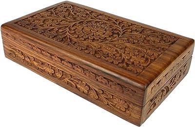 Amazon.com: Caja de madera tallada a mano de 17.7 in, color ...