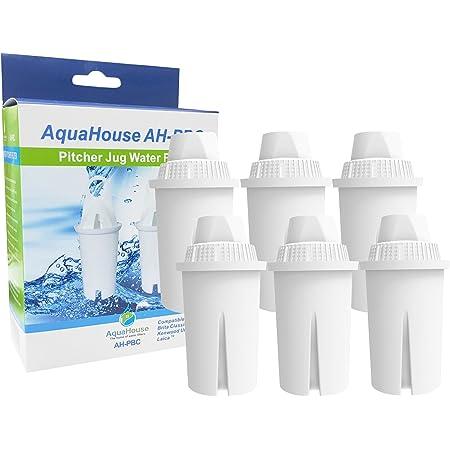 6 filtres universels Aquahouse AH-PBC, compatibles avec pour cartouches pour filtre à eau, cruches Brita Classic, Kenwood, Laica, PearlCo, Dafi.