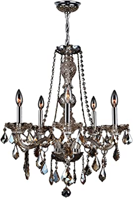 "Worldwide Lighting Provence Collection 5 Light Chrome Finish and Golden Teak Crystal Chandelier 21"" D x 26"" H Medium"