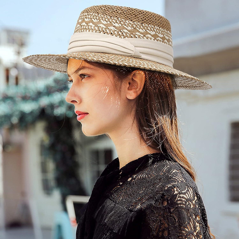 GEMVIE Straw Sun Hat for Women Men's Wide Brim Braid Straw Boater Fedora Hat Beach Summer Sun Hat with Band