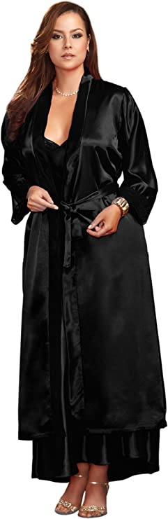 iCollection Womens Plus Size 3//4 Sleeve Satin Robe with Lace Cuffs