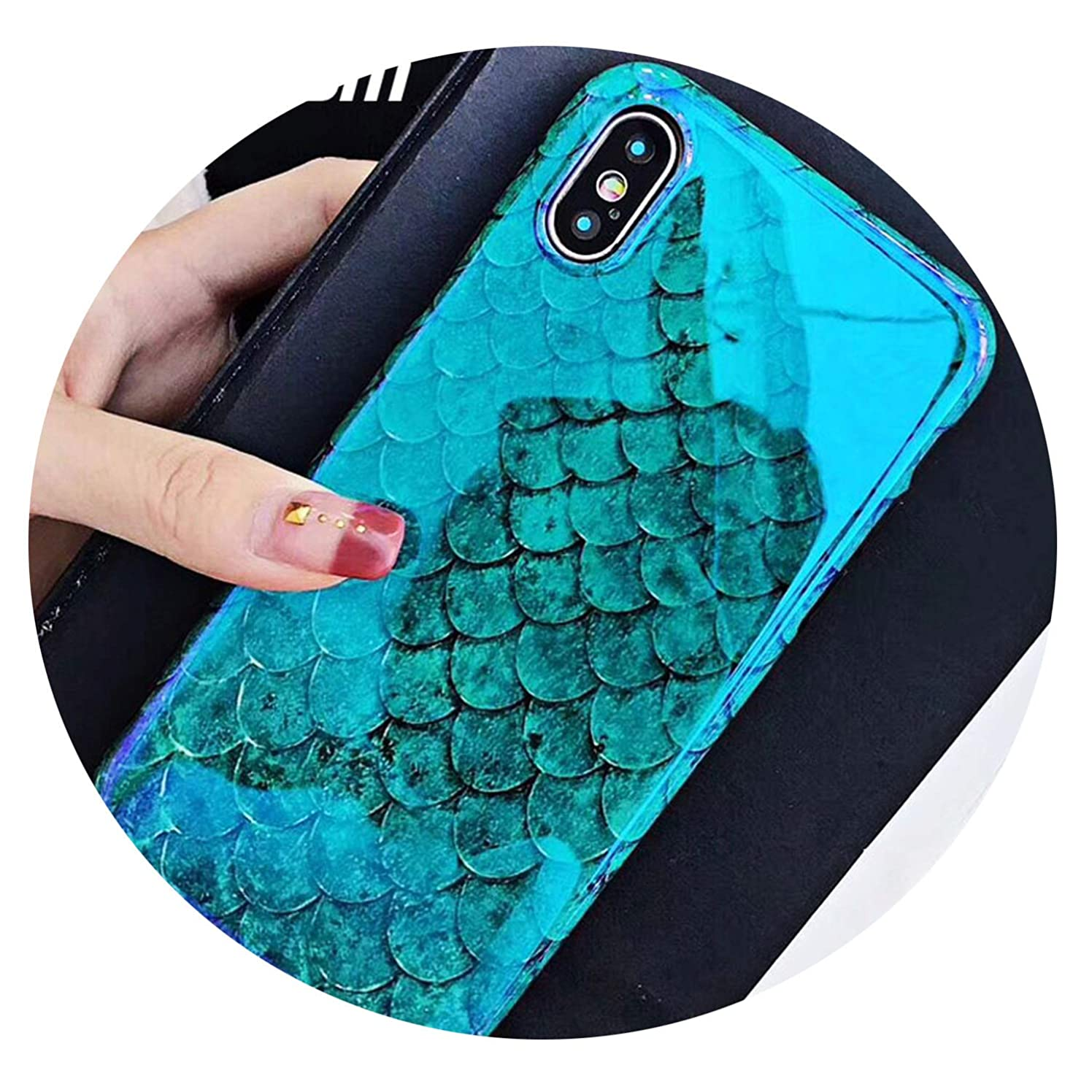 Monicas-house Blu-Ray Phone Case for iPhone Xs XR XS Max X 8 7 6 6S Plus Laser Blue Fish Scale Soft Retro Phone Back Cover Cases,for iPhone Xs